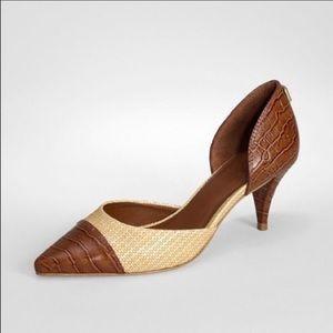 Tory Burch rattan crocodile print heels
